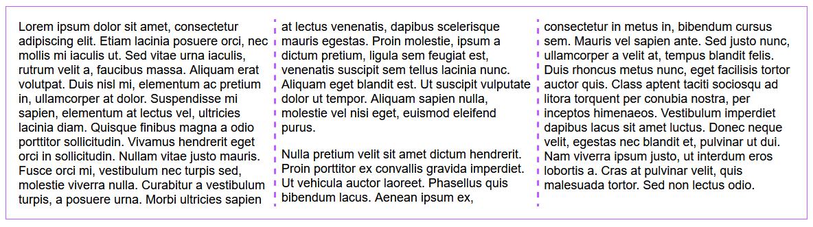 A three-column layout of plain text with a 1 em gap between columns