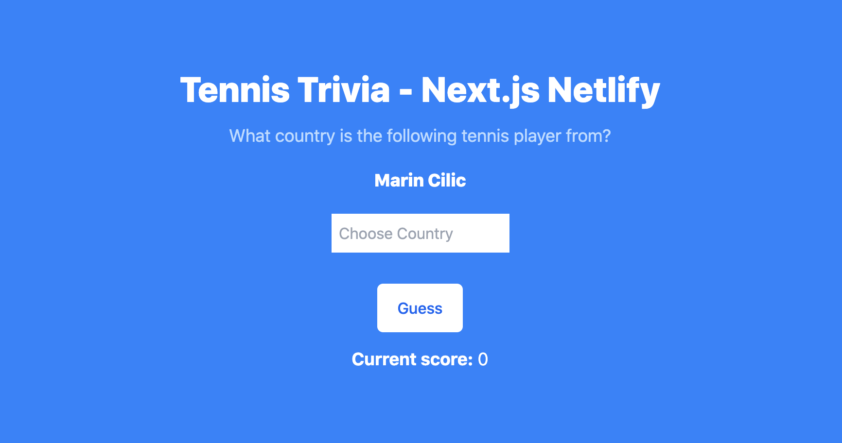 Building a Tennis Trivia App With Next.js and Netlify