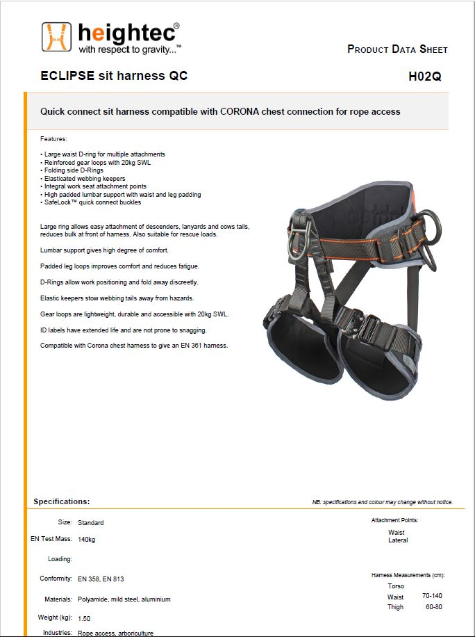 Heightec ECLIPSE Sit Rope Access Harnesses, CSS Worksafe