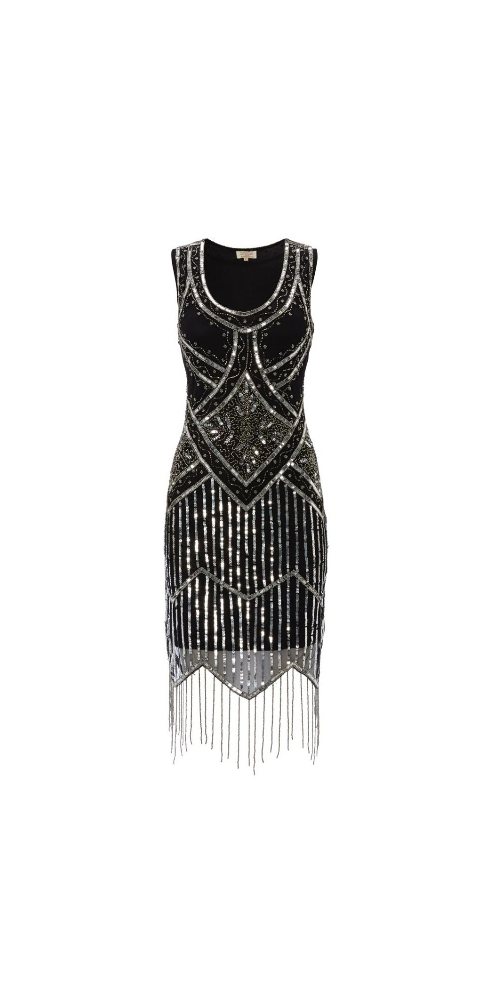 Art Deco Style Fringe Party Dress in Black