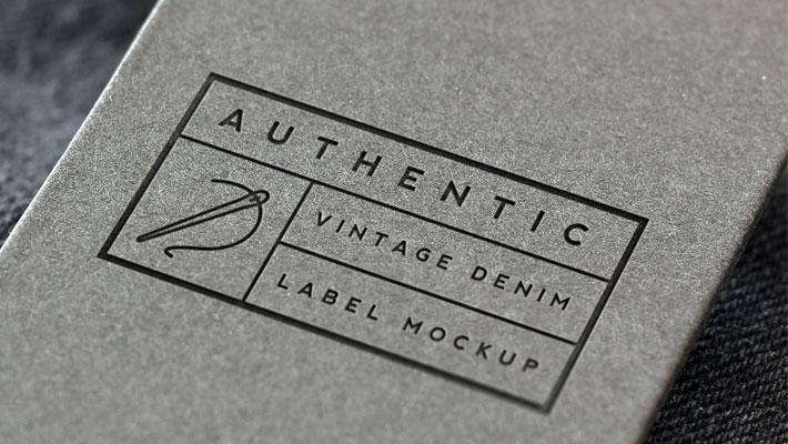 Vintage Denim Label Logo Mockup » CSS Author