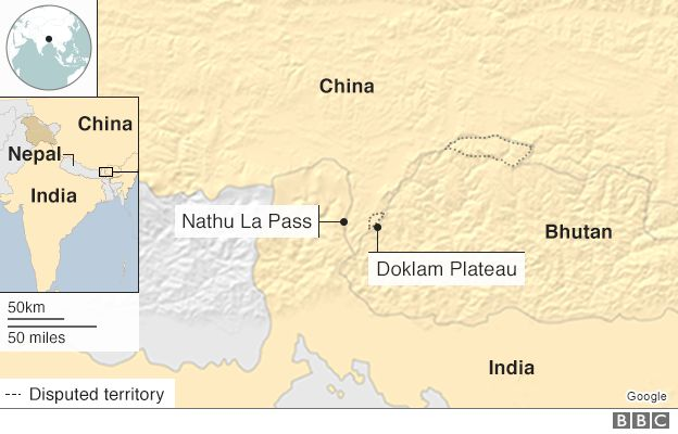 Image result for Doklam, china, india, map