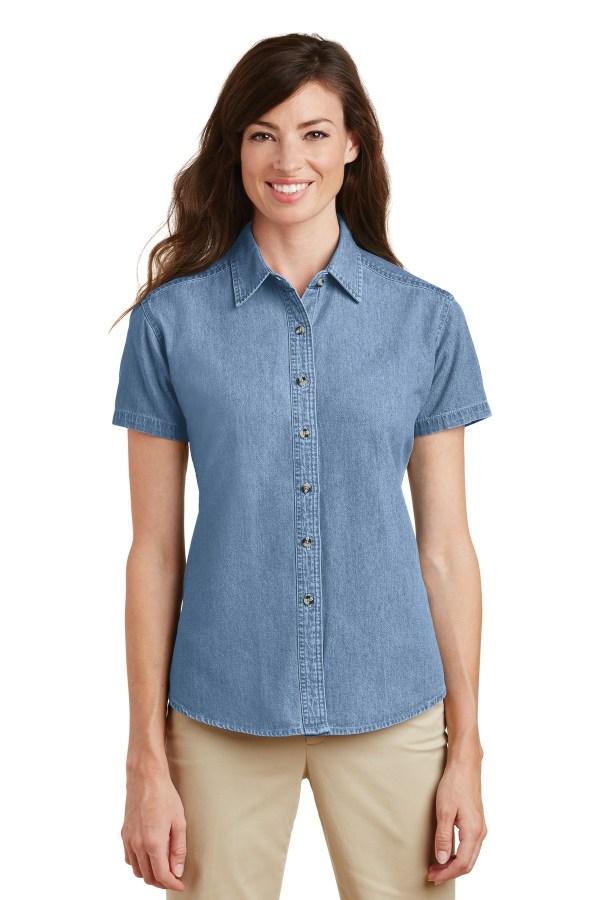 Port & Company - Ladies Short Sleeve Denim Shirt