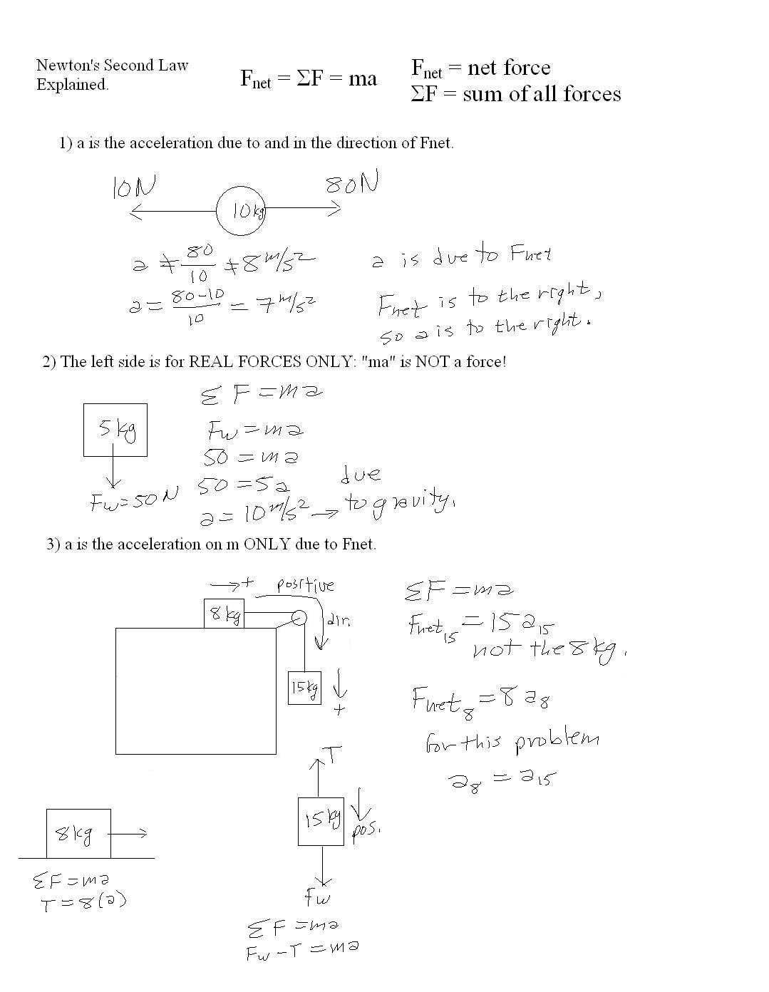 Newton S Second Law Of Motion Problems Worksheet Key