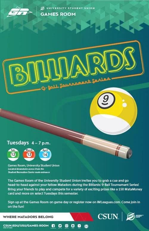 Main Game Billiard : billiard, Billiards:, 9-Ball, Tournament, Series, California, State, University,, Northridge