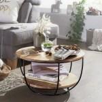 Finebuy Couchtisch 60 Cm Akazie Wohnzimmertisch Rund Holz Massiv Sofatisch Industrial Tisch Klingel