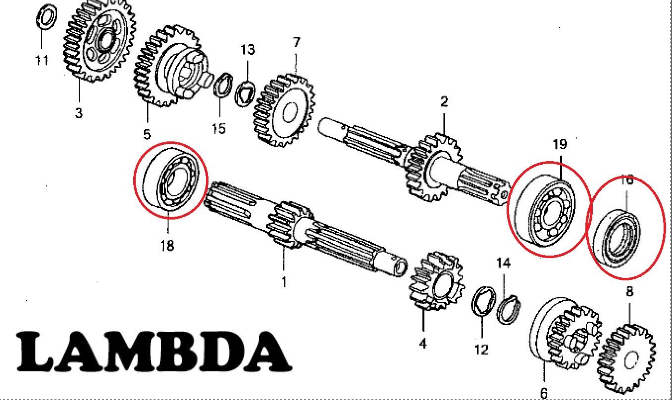 bearings set for gear box for honda ct110 posties