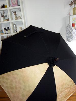 着物と羽織を組み合わせて1本の日傘をリメイクする