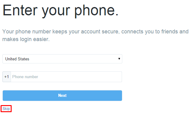 twitter - verify your phone number