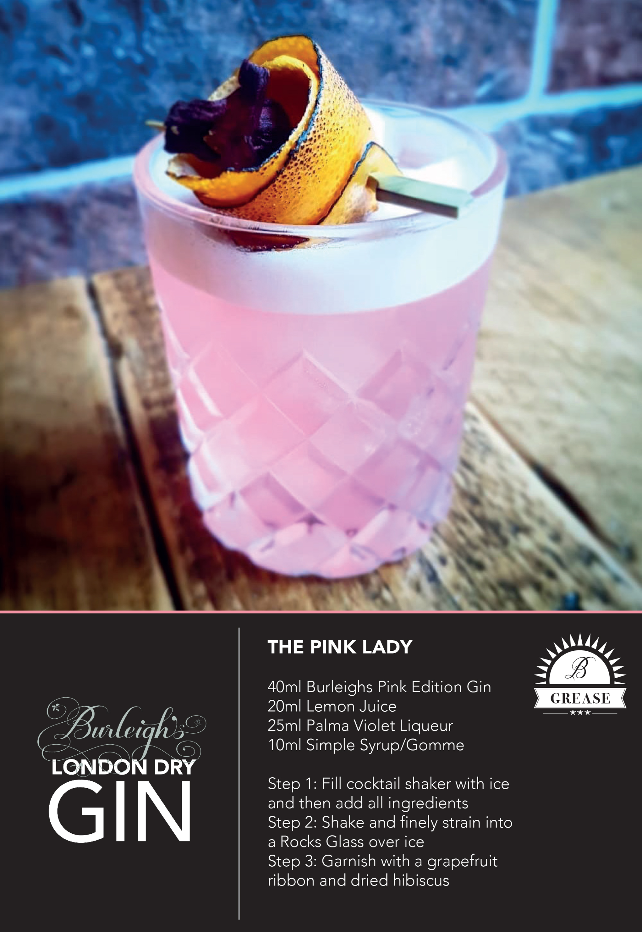 Picture and recipe of a Pink Lady cocktail created by Burleigh Gin