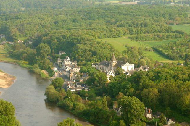 Vue aérienne de Cunault