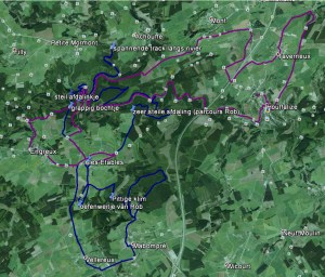 Blauwe track = route zaterdag 21/11; paarse track = MTB route 2 (grotendeels)