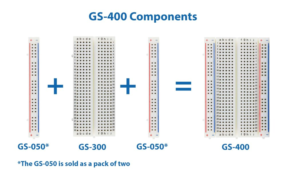 medium resolution of global specialties gs 400 solderless breadboard 400 tie points with bus strip