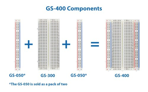 small resolution of global specialties gs 400 solderless breadboard 400 tie points with bus strip