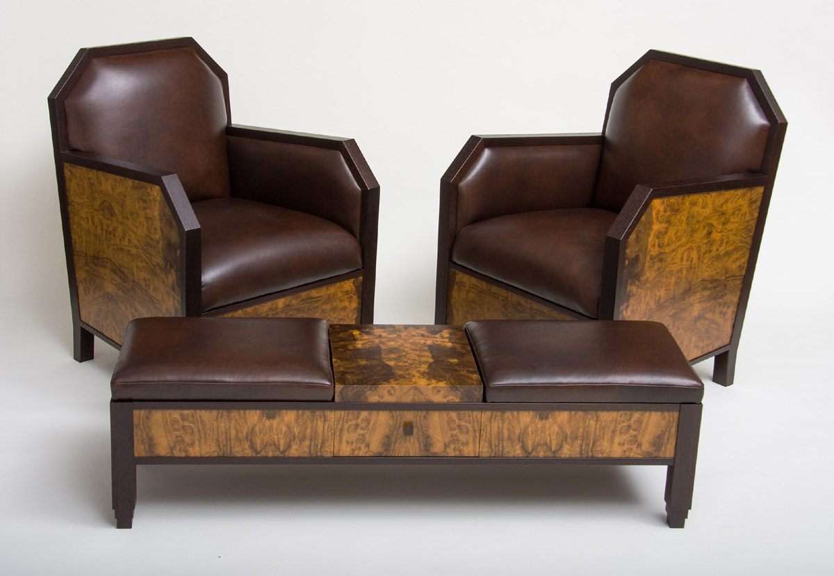 Art Deco Club Chairs and Ottoman  CT Fine Furniture