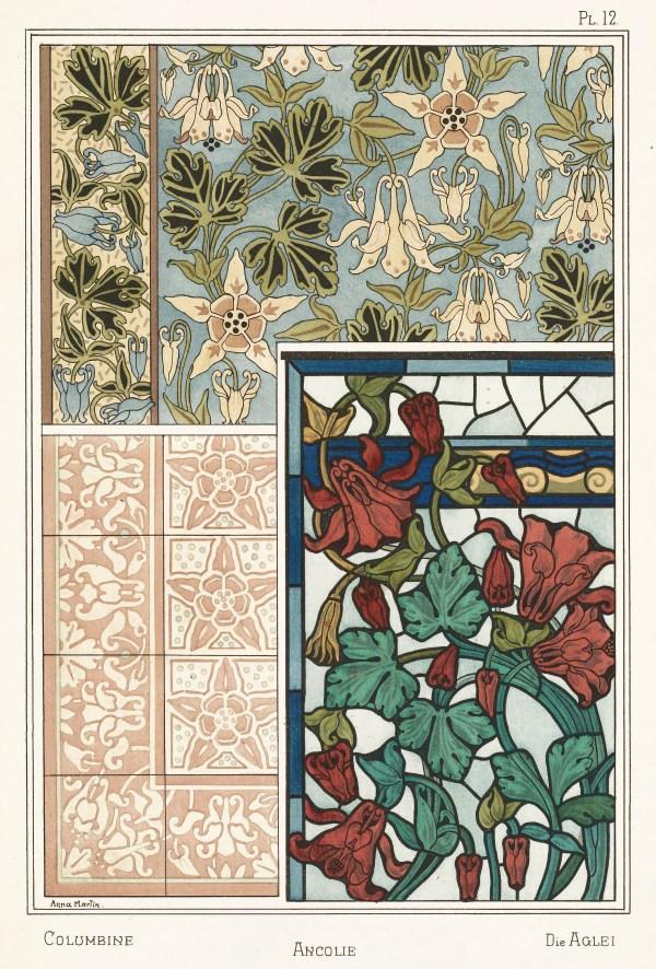 Anna Martin Art Nouveau Illustration Columbine - Ancolie
