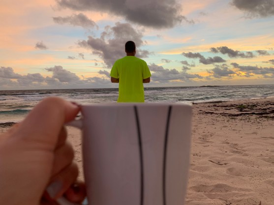 Is that the sunrise? Oh no it's Mike in his new bright shirt!