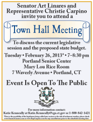hall town meeting portland invite state carpino linares issues hold 26th sen hartford rep christie constituents attend february