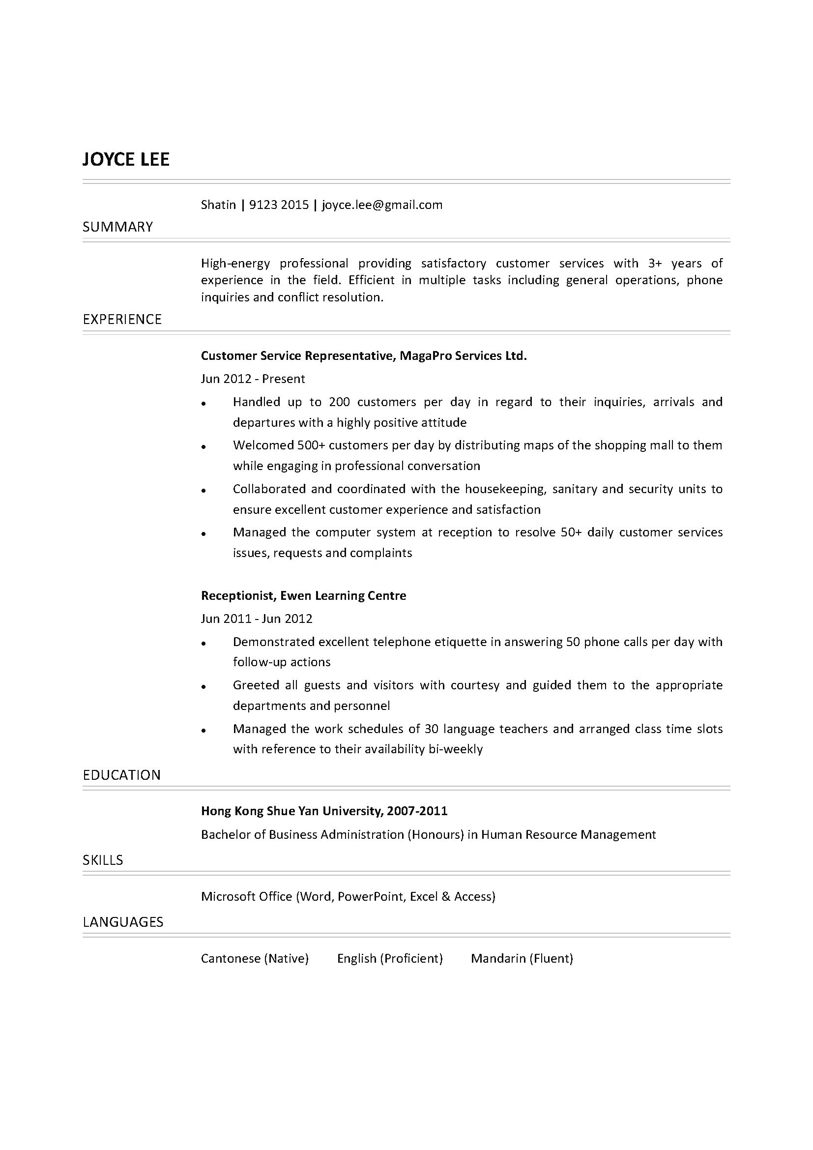 Resume Template For Customer Service Representative Customer Service Representative Cv Ctgoodjobs Powered By