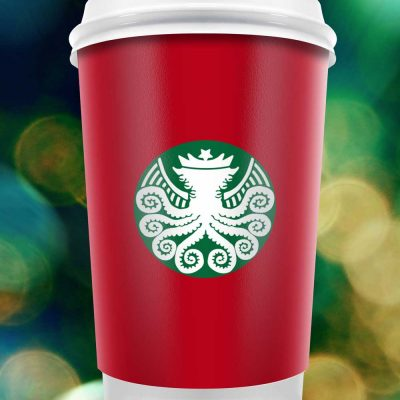 Starbucks Cthulhu Sticker on Red Cup War on Christmas