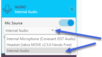 Selecting internal audio from drop-down
