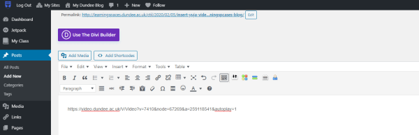 Pasting link into WordPress editor