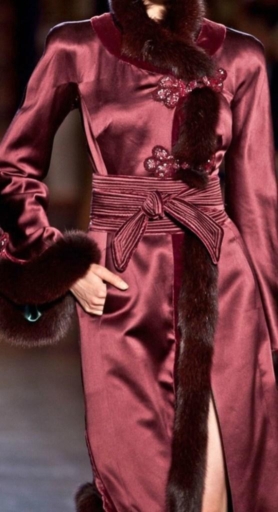 Woman in Marsala Silk dress coat