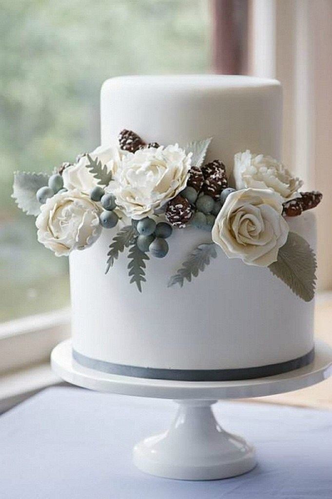 Winter Cake with pine cones