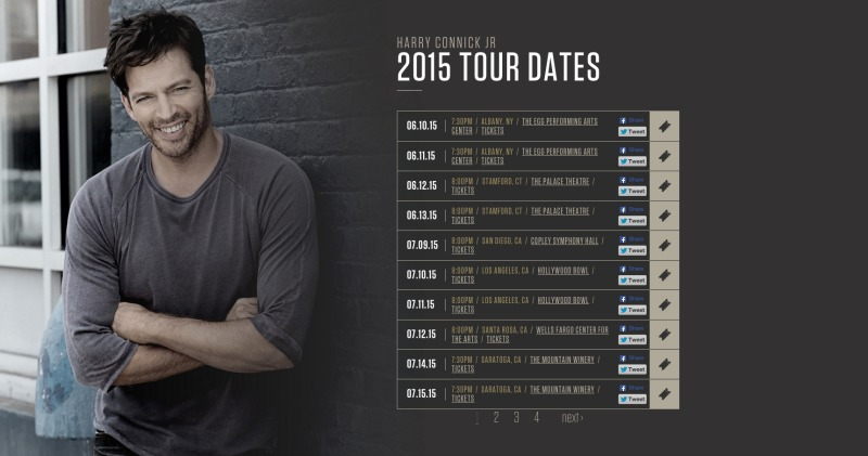 Harry Connick Tour Dates