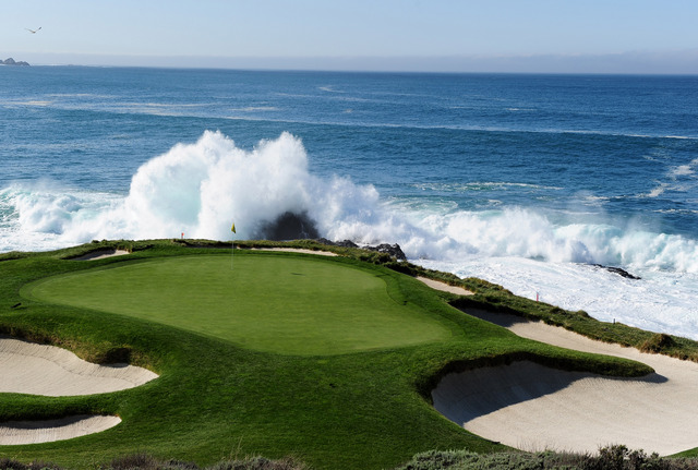 PEBBLE BEACH, CA - FEBRUARY 14: A general view of the seventh hole before the final round of the AT&T Pebble Beach National Pro-Am at Pebble Beach Golf Links on February 14, 2010 in Pebble Beach, California. (Photo by Stuart Franklin/Getty Images)