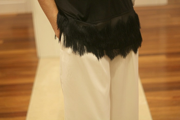 Black Fringe Top detail