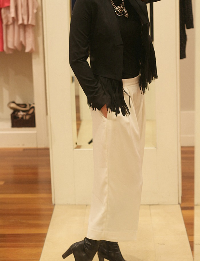 White Gaucho Pants and fringe jacket