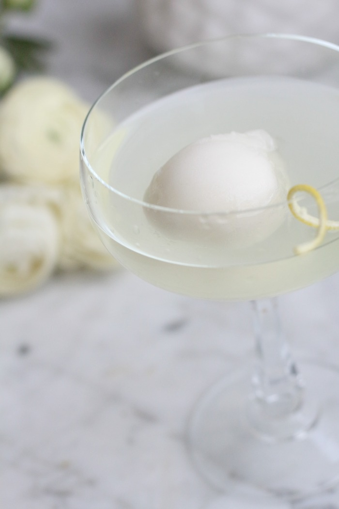 Lemon Drop Martini with sorbet
