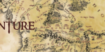eVenture stylized text with map background