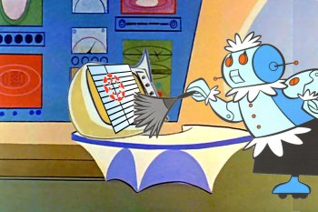 Image of Rosie the Robot from the Jetsons Cleaning a Computer Screen