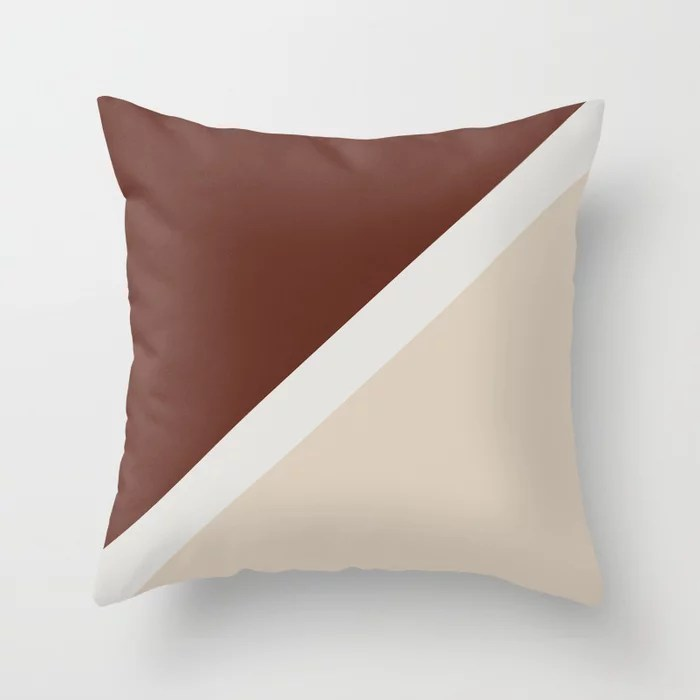 Beige White Reddish Brown Minimal Stripe Design: Hues were inspired by and match (pair / coordinate with) 2021 Color of the Year Uptown Ecru & Terra Rosa Throw Pillow
