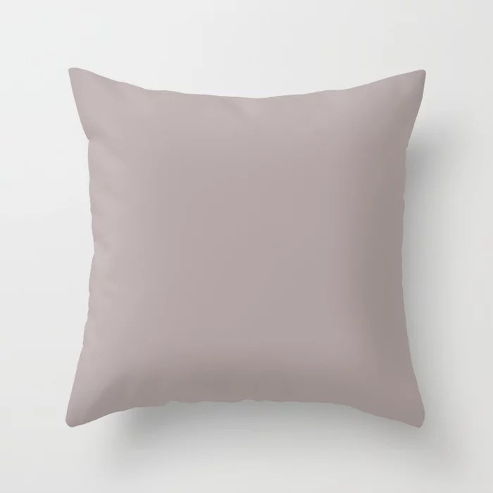 Mauve Light Pastel Purple Pink Solid Color - All Colour - Single Shade Pairs w/ Flexible Gray SW6010 Throw Pillow