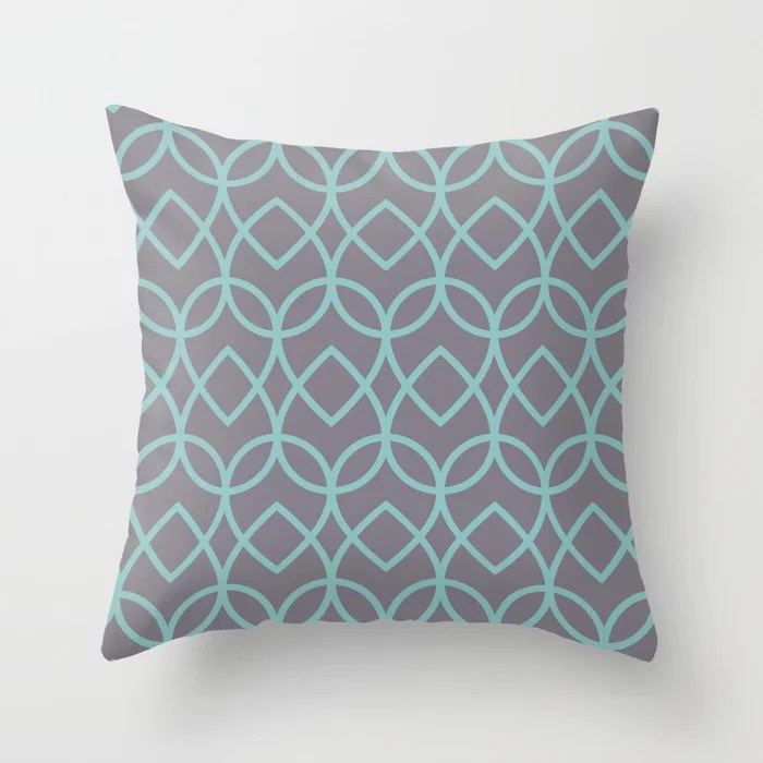 Pastel Teal and Purple Teardrop Line Pattern 2021 Color of the Year Aqua Fiesta and Magic Dust Throw Pillow