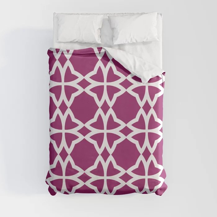 Magenta and White Symmetrical Flower Pattern - Colour of the Year 2022 Orchid Flower 150-38-31 Duvet Cover - color for 2022