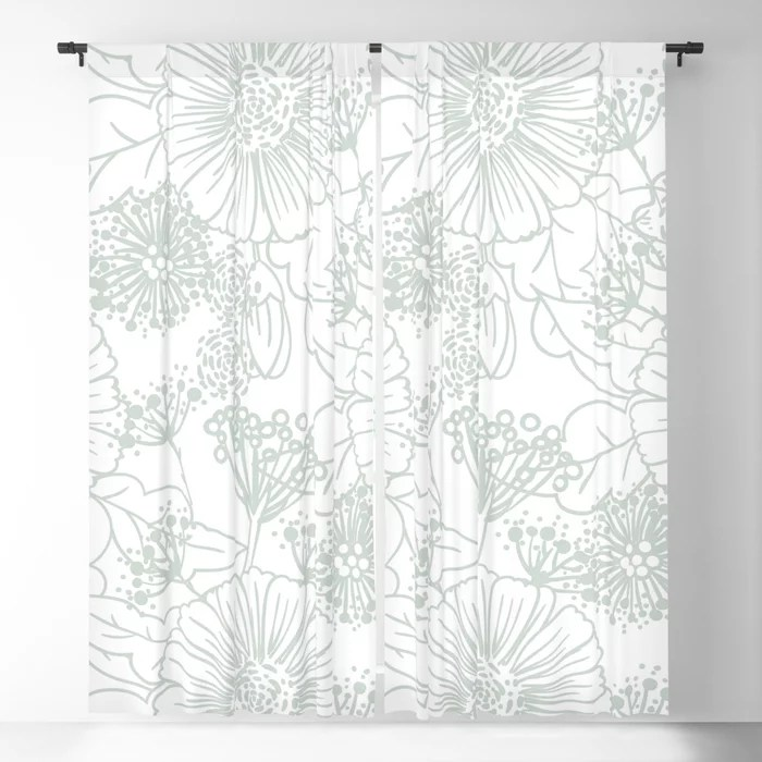 Pastel Green and White Hand Drawn Floral Pattern Pairs Behr 2022 Color of the Year Breezeway MQ3-21 Blackout Curtain. Color for 2022