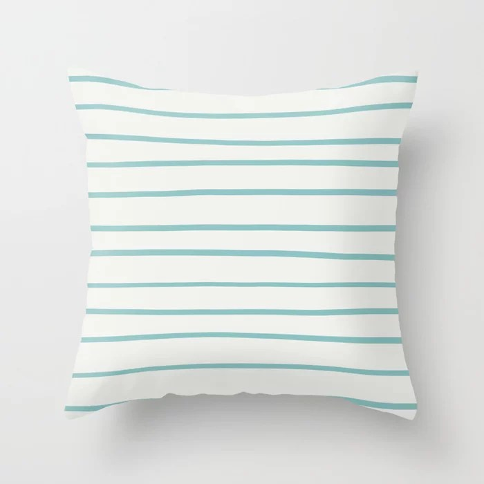 Pastel Teal - White Horizontal Stripe Pattern 2021 Color of the Year Aqua Fiesta & Delicate White Throw Pillow