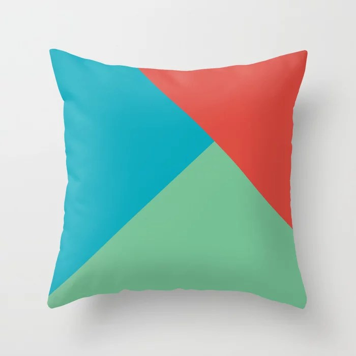 Blue-Green Red Green Abstract Pattern 2021 Color of the Year AI Aqua 098-59-30 Throw Pillow