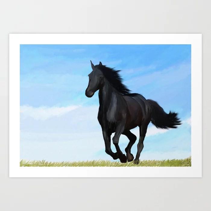 Running Black Horse Equestrian Painting Art Print By Elizadonovan Society6