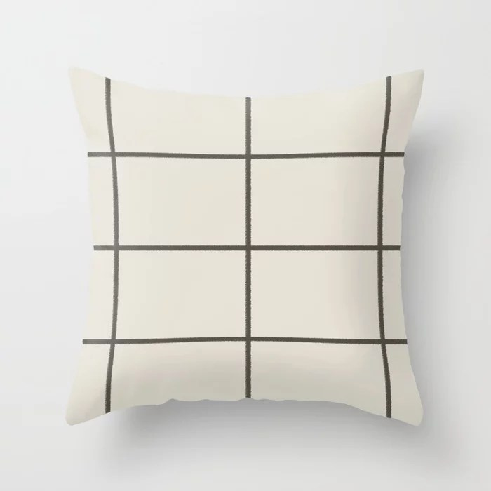 Dark Brown Cream Thin Line Check Pattern 2021 Color of the Year Urbane Bronze and Shoji White Throw Pillow