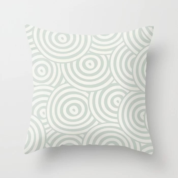 Pastel Green and Cream Hypnotic Circle Pattern Pairs Behr 2022 Color of the Year Breezeway MQ3-21 Throw Pillow. 2022 color scheme, trending interior design hue.