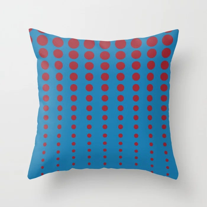 Blue and Red Reduced Polka Dot Pattern 2021 Color of the Year Satin Paprika and Satin Lagoon Throw Pillow