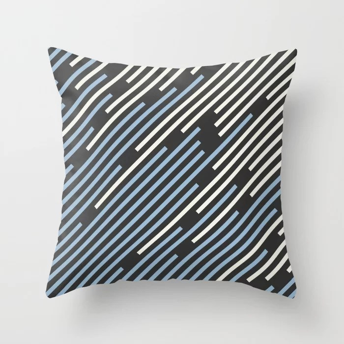 Pastel Blue Off White Black Off-set Stripe Pattern Throw Pillows inspired by and pairs to (matches / coordinates with) Dutch Boy 2021 Color of the Year Earth's Harmony and Accent