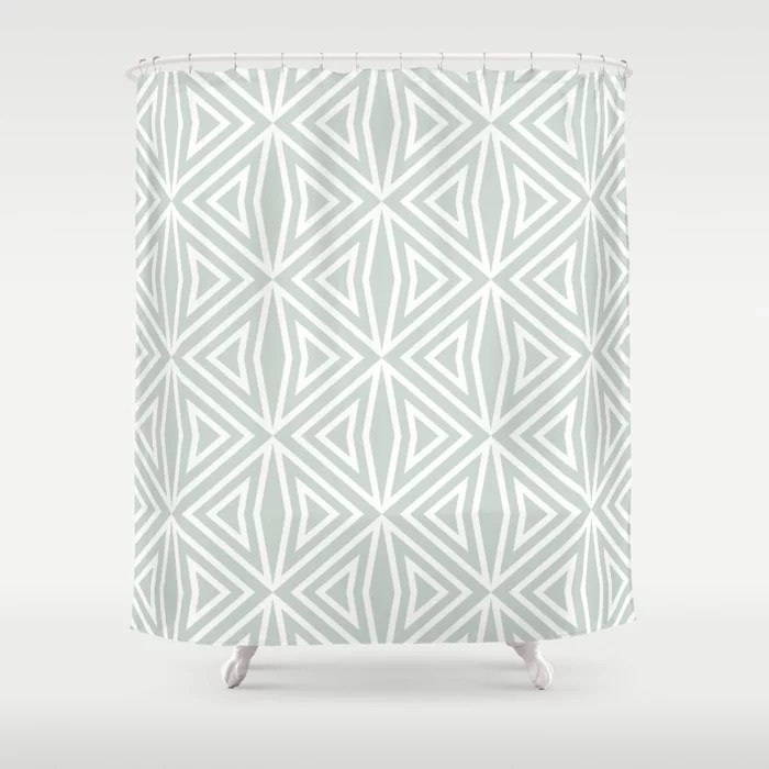 Pastel Green and White Shape Tile Pattern 3 Pairs Behr 2022 Color of the Year Breezeway MQ3-21 Shower Curtain. 2022 color trend