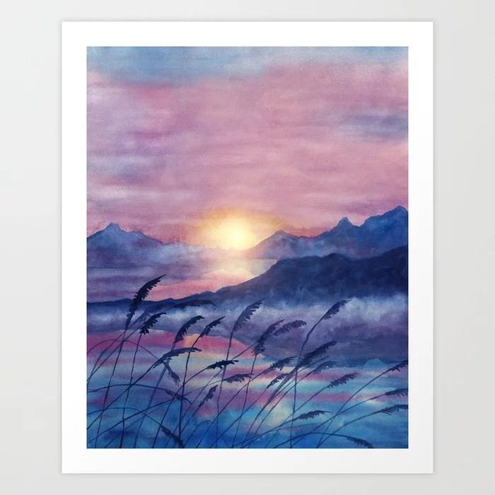 Sunday's Society6   Landscape sunset watercolor art print