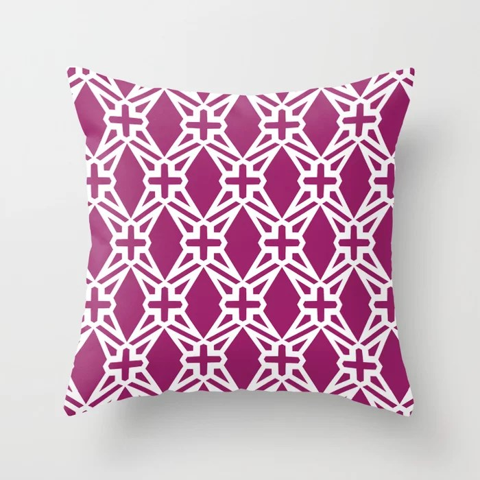 Magenta and White Geometric Shape Tile Pattern - Colour of the Year 2022 Orchid Flower 150-38-31 Throw Pillow